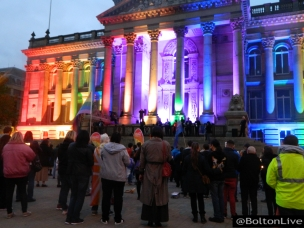 Bolton Town Hall draped in rainbow colours