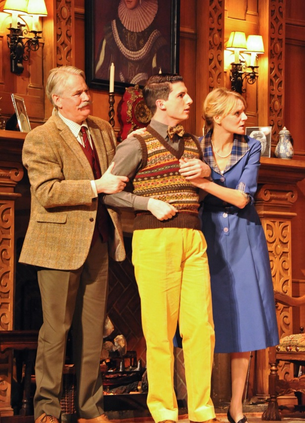 Tony Boncza (Major Metcalf), Oliver Gully (Christopher Wren) and Anna Andresen (Mollie Ralston) in The Mousetrap. Credit Liza Maria Dawson (13)