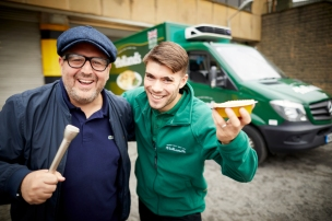 Holland's Pies Vanoke at take of carpool karaoke Justin Moorhouse and delivery driver Adam Grey take to the roads searching for singers with a start price of a years supply of chippy meals.