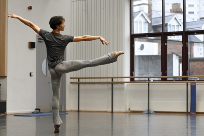 César Morales rehearses Prince Florimund in The Sleeping Beauty; photo Gabriel Anderson